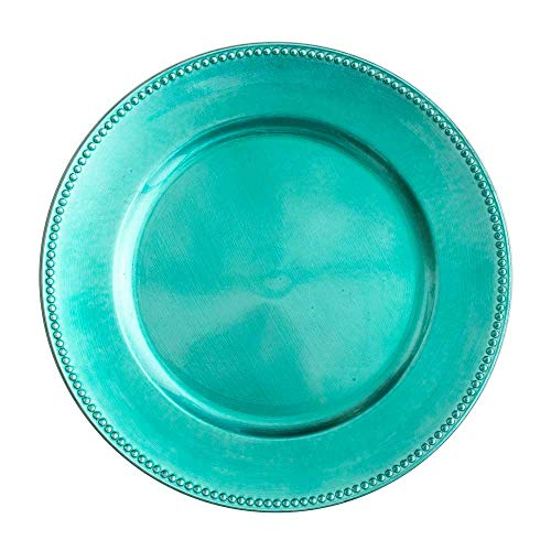 "Richland Charger Plate Beaded Round 13"" Aqua Blue"
