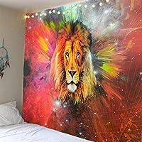 ライオンシリーズ星座印刷タペストリー背景布吊り布タペストリー装飾寝室吊り布-色とりどりのライオンの頭_180 * 230CM