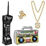 Hotusi Hip Hop Costume Kit Inflatable Radios Gold Chain Ring 80s/90s Party Supplies Decorations Cosplay Props