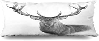 Ahawoso Zippered Body Pillow Cover 20x54 Inches Red Antlered Stag Deer Outdoors Hand White Majestic Drawn Animals Wildlife Taxidermy Mammal Animal Decorative Cushion Case Home Decor Pillowcase