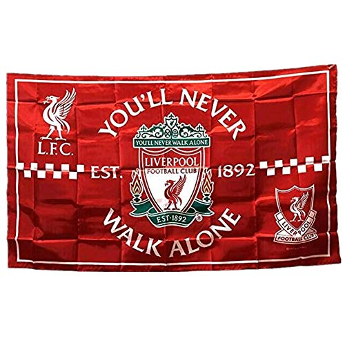 STER-TSP Liverpool FC Flagge, Fußballclub, authentisches Banner – You'll Never Walk Alone, 90 x 150 cm, Rot