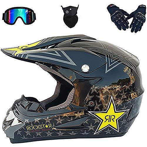 Casco de motocross para niños con guantes, máscara facial, unisex, de cara completa, para niños, motocicleta, bicicleta sucia, adecuado para motocicleta, bicicleta de montaña, karting, 52-60 CM