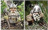 Wikinger Victor Norse Zwerg Gnom Statue - Wikinger Garten Gnom Farbige Dekoration für Patio Gartenzwerg Deko Garten für Rasen, Hofkunstdekoration, Einweihungsgarten Geschenk (A+B)