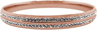 Bevilles Rose Stainless Steel Pave Crystal Bangle