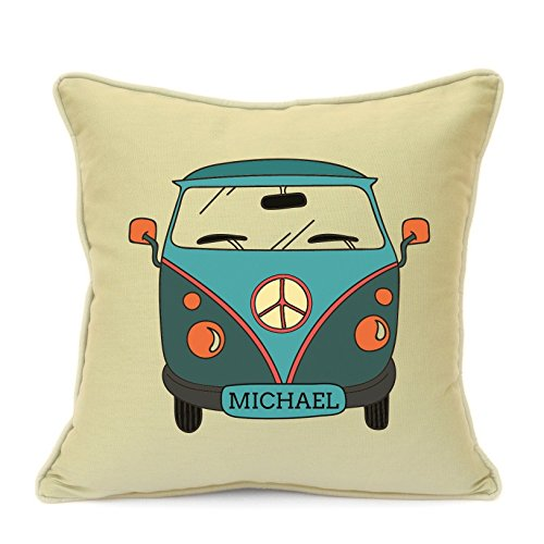 Personalised Birthday Gift for Boys Kids Bed Room Camper Van with Name Beige Cushion Cover Size 18 Inch 45 cm Great Gift For Children On Any Occasion