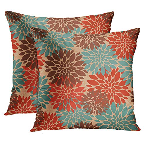 Accrocn Set of 2 Throw Pillow Covers Unique Elegant Orange Teal Cream Brown Peonies Print Pattern Popular Cushion Decorative Pillowcases Polyester 16 x 16 Inch Square Pillowcase Hidden Zipper