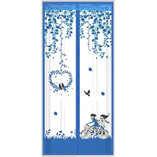 CYGJ Blue Insect Screen Window 90x210cm / 35x82inches Outdoor Curtain for Front Door and Home Outside Kids/Pets Walk Through Easily Fit Door,Easy to Install Without Drilling