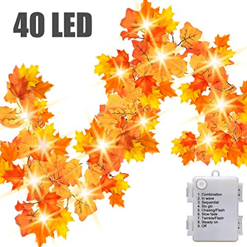 Luditek 14.7ft Thanksgiving Decorations Autumn Garland - Thanksgiving Decor Fall Garland Lights with 40 LED - 8 Blinking Modes -Waterproof-Friendsgiving Decorations