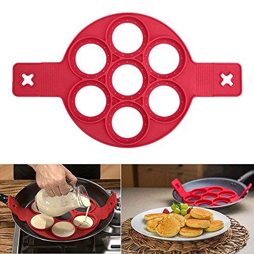 Romote Coque en Silicone Moules crêpes, réutilisable Anti-adhésif Moule à Oeuf en Silicone Pancake Maker et Flipper pour Cuisine