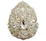 TTjewelry Bride 4.92' Flower Drop Pendant Bridesmaid Brooch Austria Crystal (White-Gold Tone)