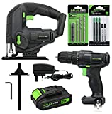 GALAX PRO Cordless <span class='highlight'>Power</span> Tool Kit, 20N.m Single Speed Drill Driver 20V, Cordless Pendulum Jig Saw 0-2500SPM, Battery Pack 1,3Ah with Charger, 5PCS Drill Bits, 8PCS T-Saw Blades, Hex Key, Rip Guide