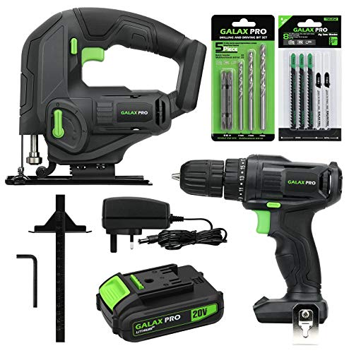 GALAX PRO Cordless Power Tool Kit, 20N.m Single Speed Drill Driver 20V, Cordless Pendulum Jig Saw 0-2500SPM, Battery Pack 1,3Ah with Charger, 5PCS Drill Bits, 8PCS T-Saw Blades, Hex Key, Rip Guide