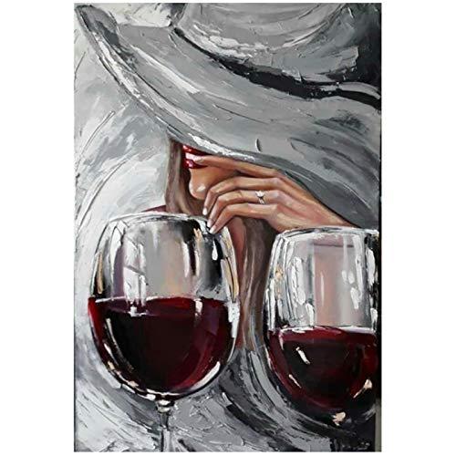 Tiiiytu Arte abstracto Graffiti Mujer Copa de vino Pintura al óleo Póster Impresión Pintura de pared Pintura Decoración del hogar Lienzo Pintura de pared-50x70cm Sin marco