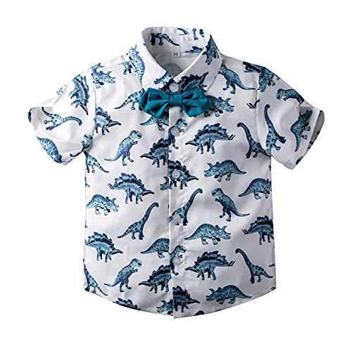 Baby Boys Casual Hawaiian Shirts Cotton Print Button Down Short Sleeve Shirt for Holiday (White Dinosaur, 2-3T)