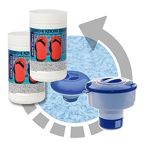 2x Cloro 4 Azioni in Pastiglie - 10 Pastiglie da 200 gr + Dispenser Dosatore galleggiante per Pastiglioni fino a 200 Gr - Kit Trattamento Acqua Piscina fino a 100 mc (2x Cloro + Dispenser Cloro)