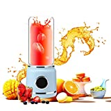 Fine Portable Blender, 6-Blade Personal Glass Smoothie Fruit Mixer Juicer Cup,USB Rechargeable Multifunctional Travel Blender for Shakes and Smoothies, (Blue)