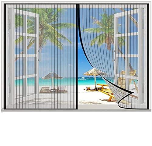 Magnet Fliegengitter Tür Insektenschutz Balkontür Fliegenvorhang ohne Bohren - Vorhang für Balkontür Wohnzimmer Schiebetür Terrassentür,schwarz,155x155cm