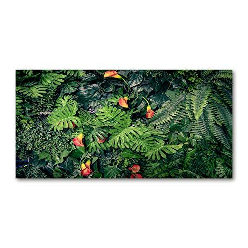 Tulup Cuadro en Acryl - 140x70cm - Mural Art Deco Wall plástico Vidrio Acrílico Cuadro Pintura Acrílica - Flores y Plantas - Verde - Selva exótica