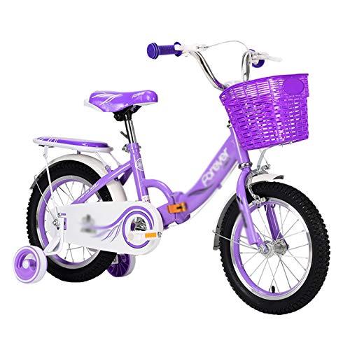 Kids Bikes Chunlan 12 Pulgadas Chico Chica Bicicleta para Niños Al Aire Libre Plegable Princesa Bicicleta para 2-5 Años Rosa/Azul/Violeta(Color:púrpura)