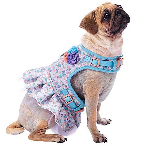 Blueberry Pet Fein Gefertigtes Reizendes Blumendruck Hundegeschirr Kleid in Lavendel, Brustumfang 48,5cm-53,5cm, Hals 39cm-44cm, S