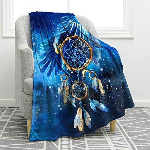 """Jekeno Feather Dreamcatcher Blanket Print Soft Warm Throw Blanket for Kid Couch Sofa Bed 50""""x60"""""""