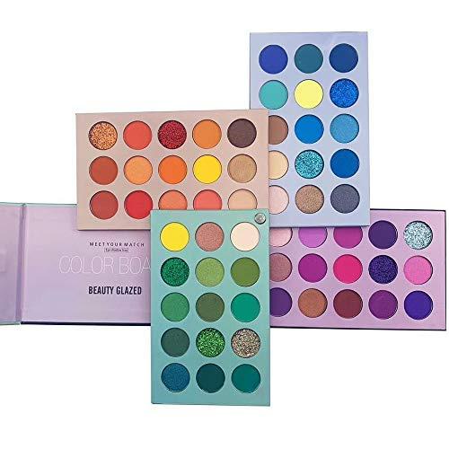 60 Farben Lidschatten-Palette, 4-in1-Farbbrett-Make-up-Palette Set Hochpigmentierter Glitter...