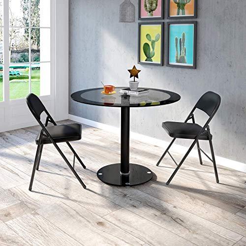 Sencilla mesa redonda de cristal moderno de vidrio y sillas de cuero artificial, sillas plegables suave,Set 2