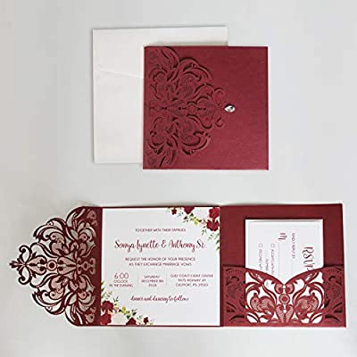 Picky Bride 50PCS Wedding Invitation with Envelopes 5 x 7 inch Lasercut, with Rustic Kraft Paper and Lace for Bridal Shower Anniversary Cards