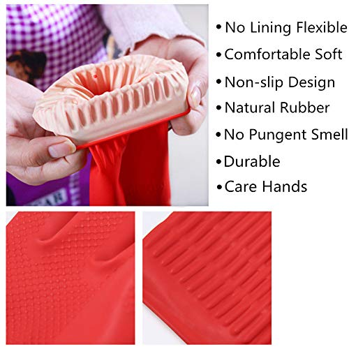 Product Image 3: Rubber Cleaning Gloves Kitchen Dishwashing Glove 3-Pairs,Waterproof Reuseable.(Medium)