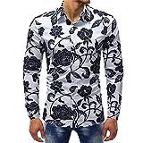HDDFG Camisas de hombre con estampado floral de primavera Camisas de vestir delgadas con estampado de rosas retro negro informal de manga larga 5XL (Color : A, Size : M code)