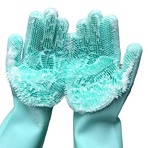 Cleaning Sponge Gloves, Dishwashing Gloves, Silicone Reusable Cleaning Brush Heat Resistant Scrubber Gloves for Housework, Kitchen Clean, Bathroom, Bathing, Car Washing. 1 Pair (13.6