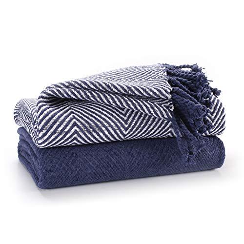 Confezione di lusso EHC da 2 coperte per divano singolo in cotone chevron, 125 x 150 cm - blu navy