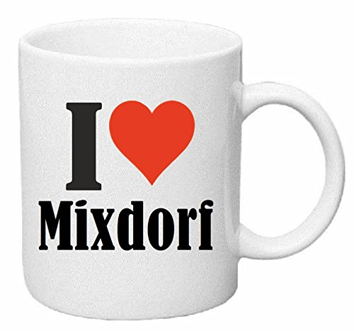 Kaffeetasse I Love Mixdorf Keramik Höhe 9,5cm ⌀ 8cm in Weiß