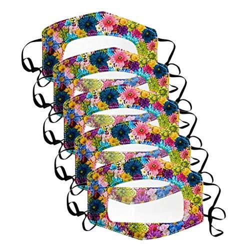 RUITOTP Gehörlose und schwerhörige Gesichtsbedeckung mit klarem Fenster Sichtbarer Ausdruck Atmungsaktiver Schal Augenschutz Winddichtes multifunktionales Stoffbandana