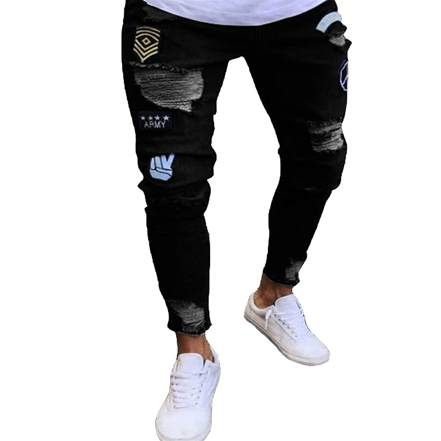 Men's Casual Distressed Jeans Ripped Slim Fitted Skinny Denim Pants Destroyed Fit Biker Stretch Jeans (Small,Black)