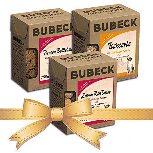 Bubeck | 3 x 750g Hundekekse | natürlich & hart gebacken | Snackbox | die ideale Belohnung für unterwegs