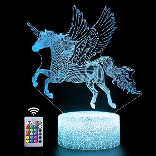 3D Unicorn Lights Fairy Illusion Lamp 16 Colors&Remote Control Optical Led Night Light Desk LED Touch Table Nightstand Lighting Gifts Toys of Girls Boy Kids for Birthday Holiday Christmas Halloween