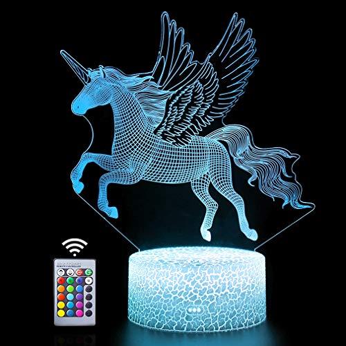 3d Einhorn Fee Illusion Lampe 16 Farben Optische Led Nachtlicht Schreibtisch Led Touch Tischlampe Spielzeug 3d Lampe Mädchen Junge Kinder Für Geburtstag Urlaub Weihnachten