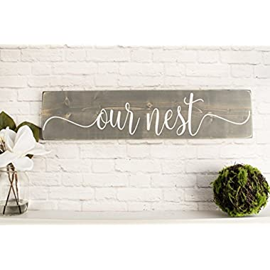 Grey Our Nest Wooden Sign - Rustic Handmade Farmhouse Wood Wall Decor
