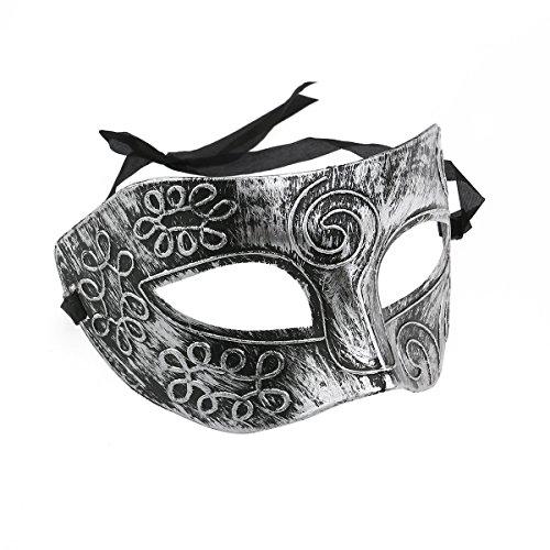 Tinksky Herren Maskenmaske, venezianische Masken für Kostümball, Maskenball, Halloween, Silberfarben