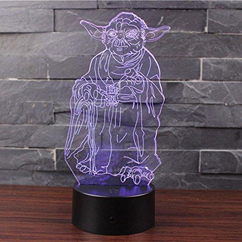 3D Optische Illusions-Lampen NHsunray LED 7 Farben Touch-Schalter Ändern Nachtlicht Für Schlafzimmer Home Decoration Hochzeit Geburtstag Weihnachten Valentine Geschenk(Meister Yoda)