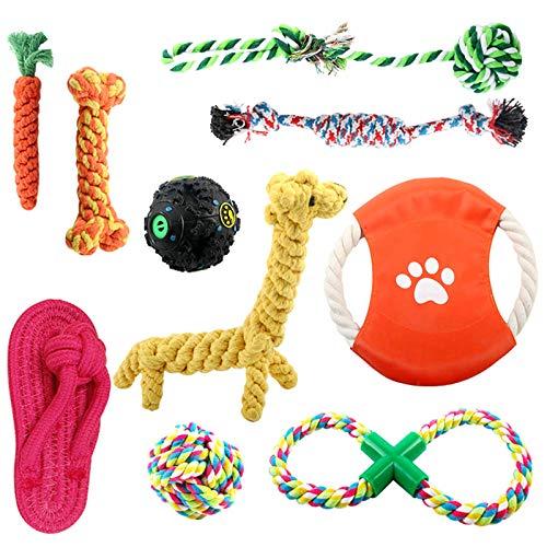 OKPOW Welpenspielzeug 10STK Langlebiges Hundespielzeug für Welpen & kleine Hunde-Hundespielzeug Welpe Hundespielzeug Set Hundezubehör-Naturbaumwolle & Ungiftig