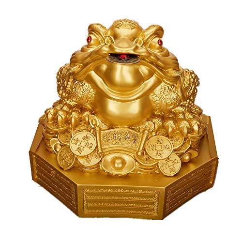 Feng Shui Resin Money Frog (Three Legged Toad/Wealth Frog) Figure on Base Decoration(Gold, L)