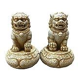 SBTXHJWCGLD Par de Leones de Beijing, estatuas de Perros Fu Foo (un par), Piedra de Resina, decoración de Feng Shui Chino, Accesorios para la Prosperidad, Figura, Escultura de jardín para el h