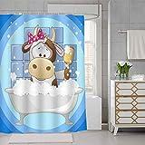 SDDSER YLLSSD270 Großer Duschvorhang mit Kuh-Motiv, für Kinder, 182,9 x 182,9 cm, wasserdichter Stoff mit 12 Haken