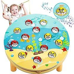 LETOMY Magnetische Musik-Angelspiel Holzspielzeug Montessori Lernspielzeug 360 ° Drehung Magnettafel Fischspielzeug Musik Fischen Set mit Musik aus