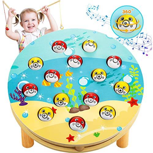 LETOMY Giochi di Pesca, Musicale Giochi Montessori Magnetici di Pesca in Legno, Musicali Pesca Perfetti Giocattoli consigliati per Bambini di 4 5 6 Anni