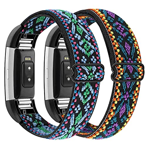 WOHAVING 2 Pack Stretchy Solo Loop Compatible with Fitbit Charge 2 Classic & Special Edition Smartwatch Bands, Soft Adjustable Braided Sport Elastic Nylon Wristband Replacement Strap for Men Women (Aztec Blue Set)