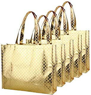 Gesodant Bling Glossy Glitter Durable Reusable Grocery Bag Tote Bag Handles Bag,Medium Non-Woven Present Bag Gift Bag,Goodies Bag Shopping Bag,Promotional Bag,Set of 5 -Gold Pattern
