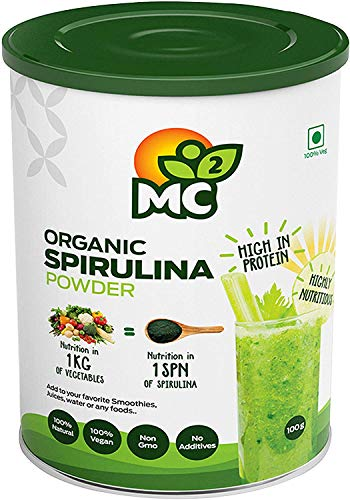 MC² by Indosigma Holdings Organic Spirulina Powder -Natural Vegan Protein and Nutrients -MC2, 100 g